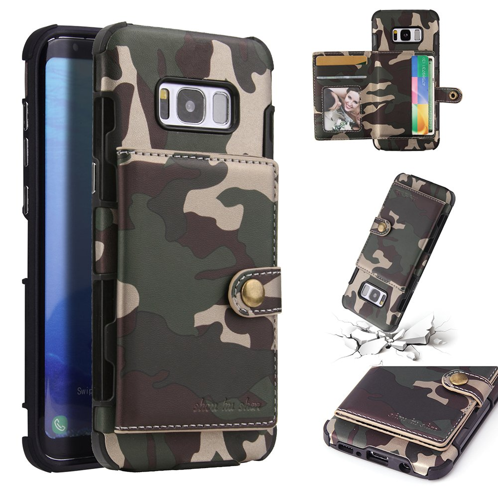 S8 Case, DAMONDY Luxury Camo Wallet Purse Card Holders Design Cover Soft Shockproof Bumper Flip Leather Kickstand Magnetic Closure Camouflage Case for Samsung Galaxy S8 2017-Army Green by DAMONDY
