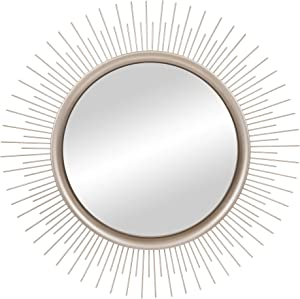 Brushed Silver Sunburst Wall Accent Mirror