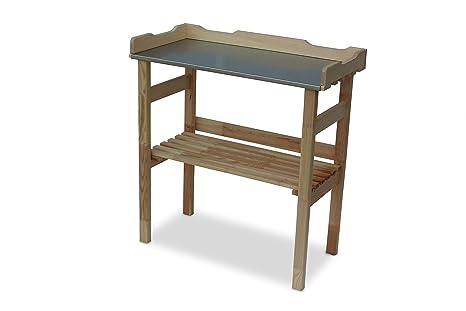 Tavolo Da Lavoro Giardino : Tavolo da giardinaggio in legno con vassoio di lavoro galvanizzato