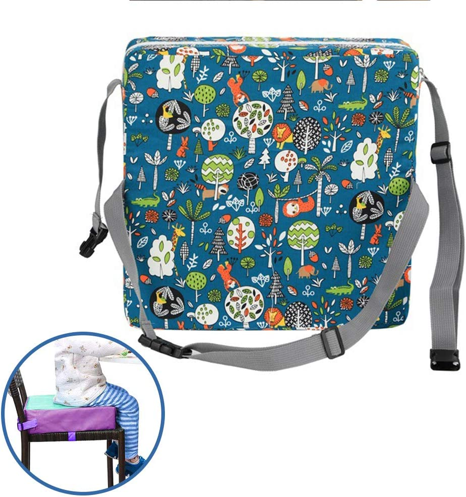Fansu Toddler Kid Dismountable Heightening Dining Chairs Pad Washable Thick Highchair Booster Cushion Mat with Straps 12.6 x 12.6 x 3.1 in,Green Baby Booster Seat Cushion Forest Printed Square
