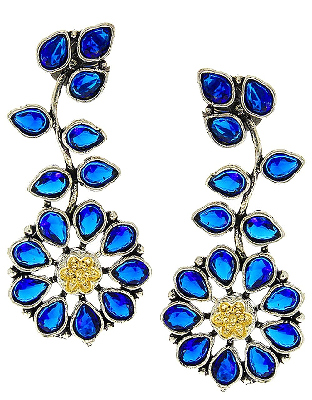 Anuradha Art Blue Colour Floral Designer Beautiful Party Wear Oxidised Long Earrings For Women//Girls