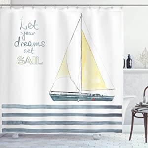 """Ambesonne Nautical Shower Curtain, Let Your Dreams Set Sail Words Stripes Yacht Interior Navigation Theme, Cloth Fabric Bathroom Decor Set with Hooks, 70"""" Long, Pale Blue White"""