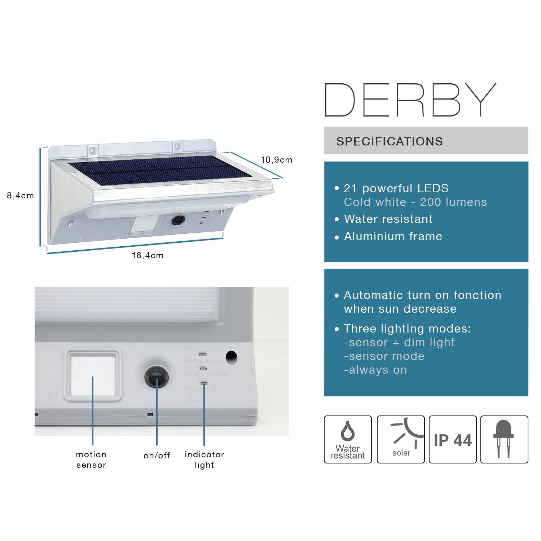 Lumisky Derby W11 Proyector aplica foco Solar 21 LED exterior impermeable luz con detector de movimiento, acero cepillado, integrado, 2 W, acero inoxidable, ...