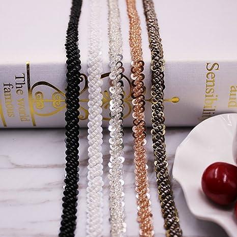 1 Yard Glass Beads Beaded Ribbon Trim Embellishment for Wedding 0.8cm White