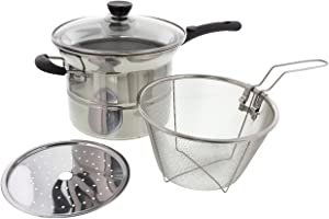 Cheftor Stainless Steel 3.5qt Soup Pot Boiler, Steamer, Deep Fryer 4 Piece Multifunctional Multi Pot Cooker with Insulated Handles, Composite Base and Glass Lid
