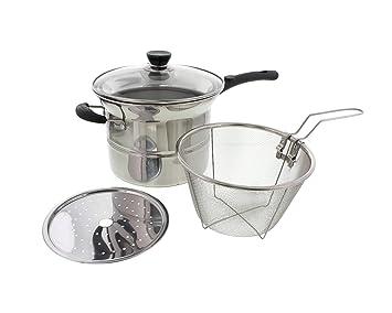 cheftor 3.5qt sopa de acero inoxidable olla caldera, vapor, freidora 4 piezas multifuncional Multi olla cocina con aislamiento asas, compuesto Base y tapa ...