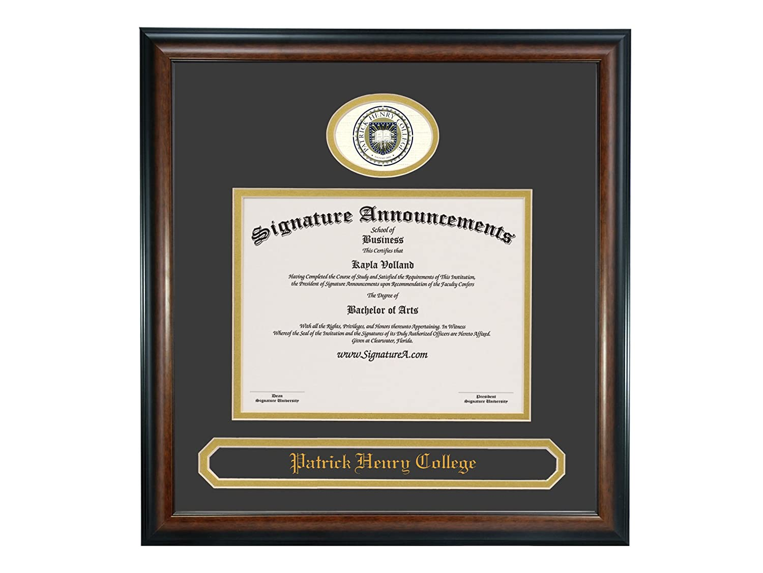 Signature Announcements Patrick-Henry-College Doctorate Sculpted Foil Seal /& Name Graduation Diploma Frame 20 x 20 Matte Mahogany