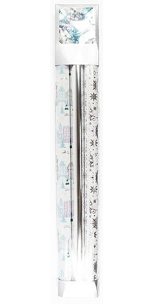 Christmas Gift Wrap Paper Supplies Set Roll Bows Ribbon Silver Blue