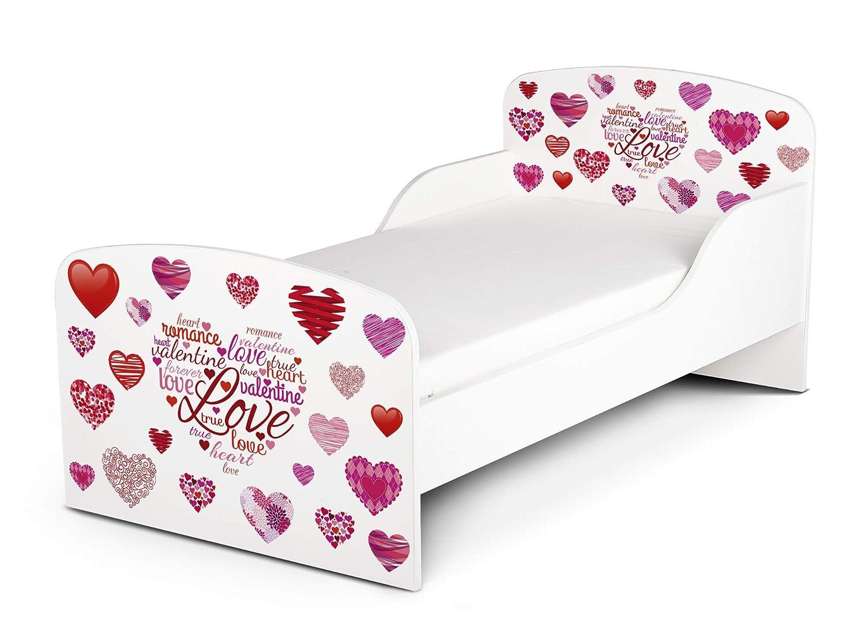 Letto Lettino per Bambini in Legno e Materasso Magnifiche Stampe Dimensioni 140×70 Colore Bianco Stile Scandinavo Love Cuori Rossi Prezzi offerte