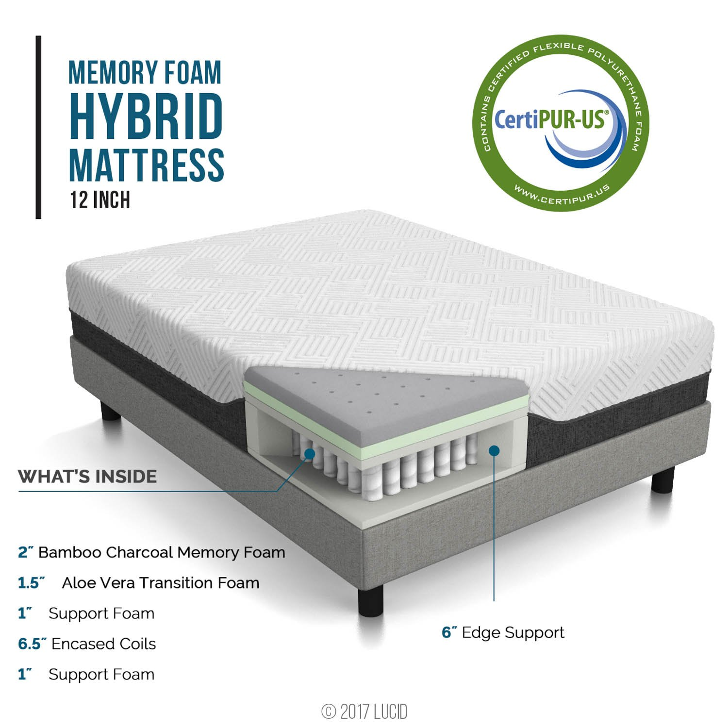 LUCID 12 Inch King Hybrid Mattress - Bamboo Charcoal and Aloe Vera Infused Memory Foam - Motion Isolating Springs - CertiPUR-US Certified by LUCID