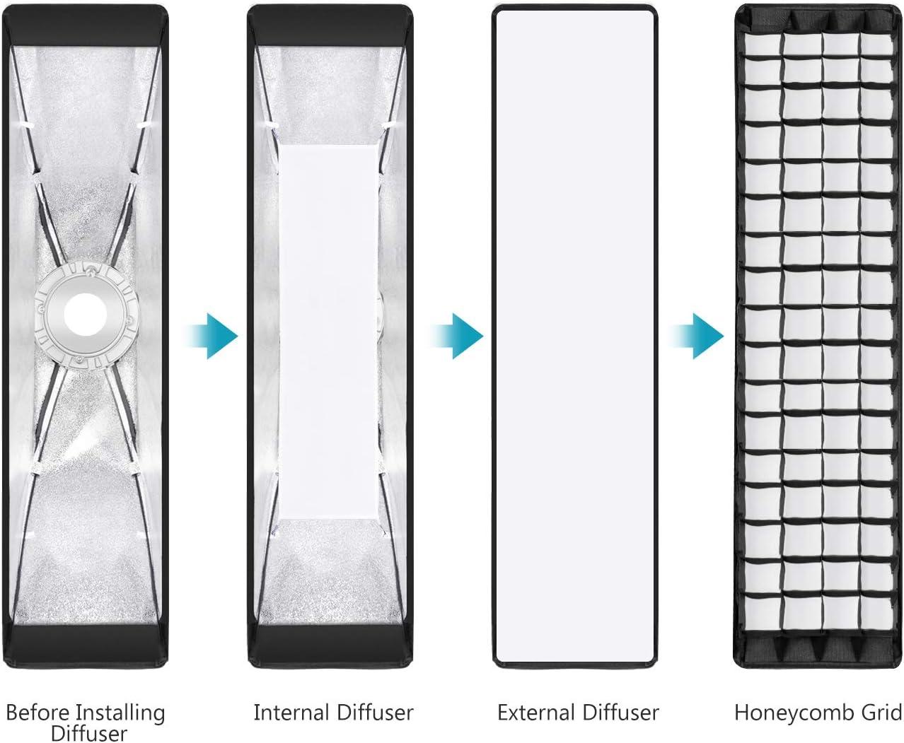 Neewer 2 Packs 22x90 Cent/ímetros Softbox Rejilla Nido de Abeja con Velocidad de Montaje de Bowens para Speedlite Estudio Flash Monolight Retrato y Fotograf/ía de Producto