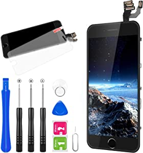 for iPhone 6 Plus Screen Replacement, FLYLINKTECH Full Assembly LCD Display Digitizer with Home Button, Front Camera, Ear Speaker, Proximity Sensor and Repair Tool Kit (Black)