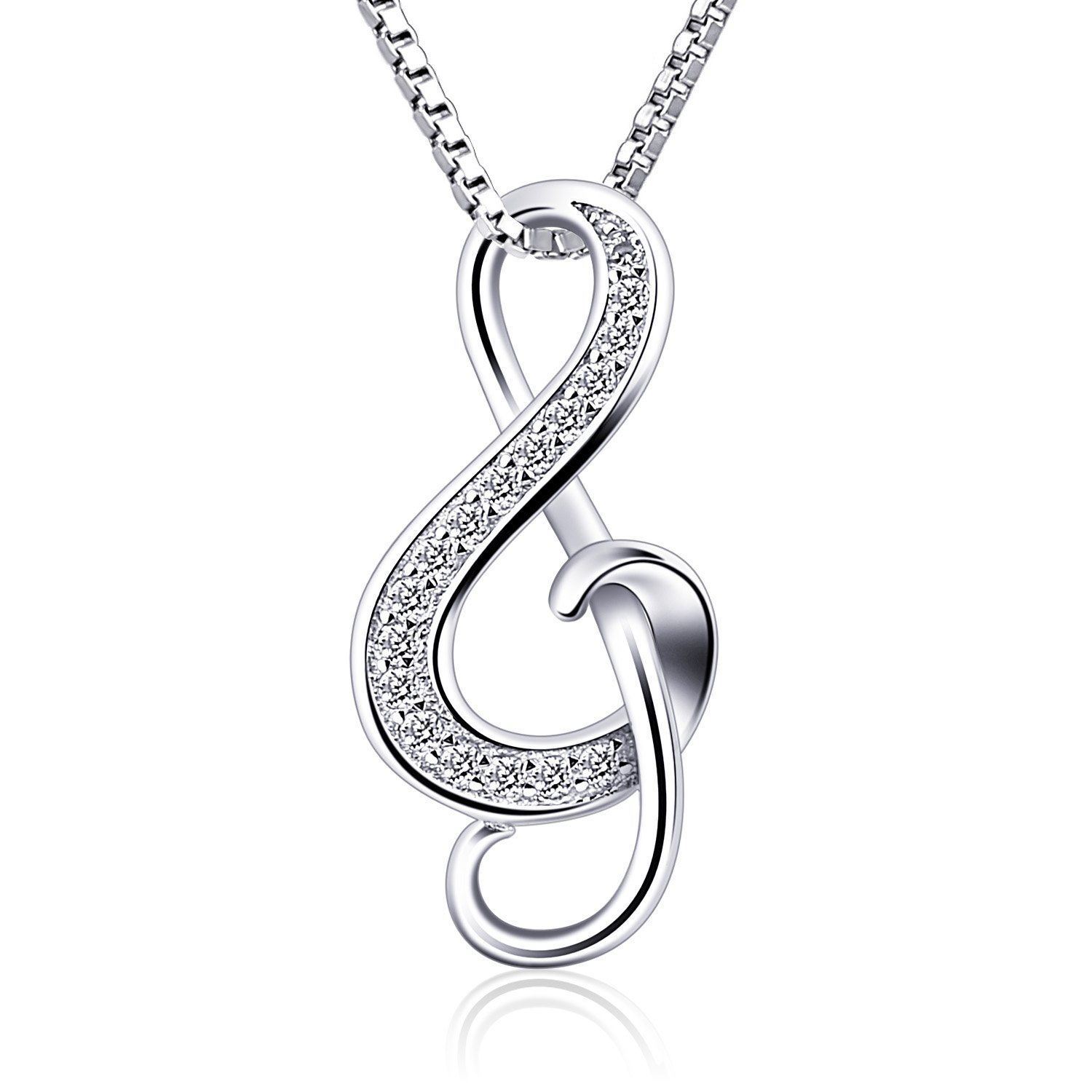 (1) - B.Catcher Silver Necklaces Music Note Pendant Necklace S925 Sterling Silver Women Jewellery BC-49
