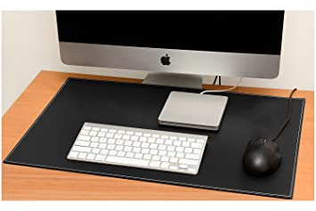 PU Leather Desk Mat Office Desk Protector Large Writing Pad Water Resistant  Easy Clean 60x40cm Black
