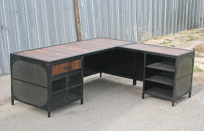 modern industrial desk reception modern industrial desk with return vintage workstation reclaimed wood amazoncom