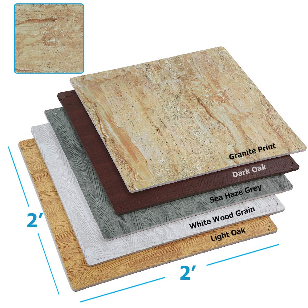 Clevr 100 Sq. Ft (10' x 10') EVA Interlocking Foam Mats Flooring, Granite Stone Print Style - (24'' x 24'', 25 pcs)   Includess Tile Borders   1 Year Limited Warranty   Perfect for Trade Shows and con