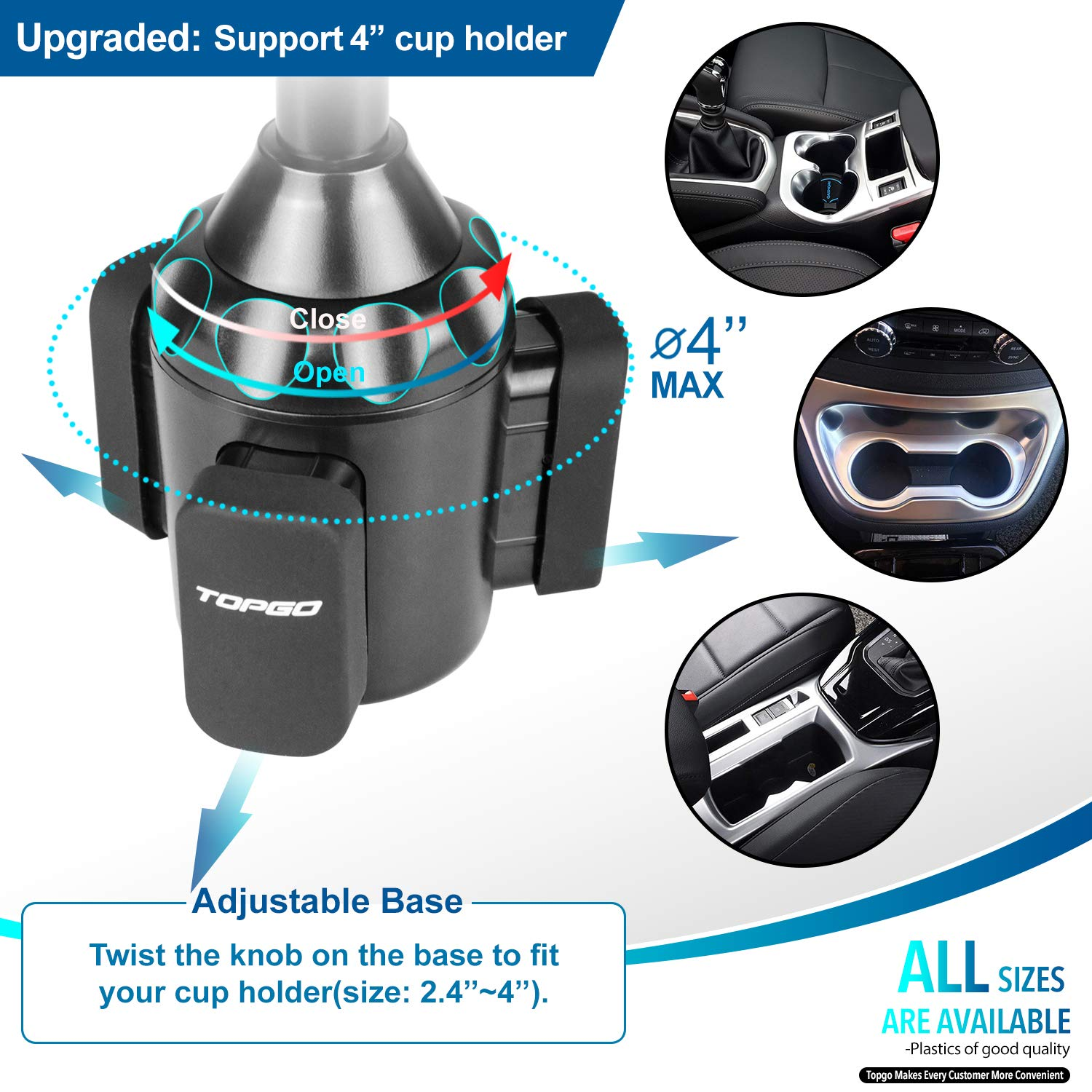Car Cup Holder Phone Mount Adjustable Automobile Cup Holder Smart Phone Cradle Car Mount for iPhone XR//XS Max//X//8//7 Plus//6s//Samsung Galaxy S10+//Note 9//S8 Plus//S7 Edge Black Upgraded