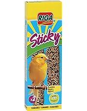 Riga - 2 Bastoncini Sticky con Mele per Uccelli canarini, Confezione da 5 (5 x 60 g)