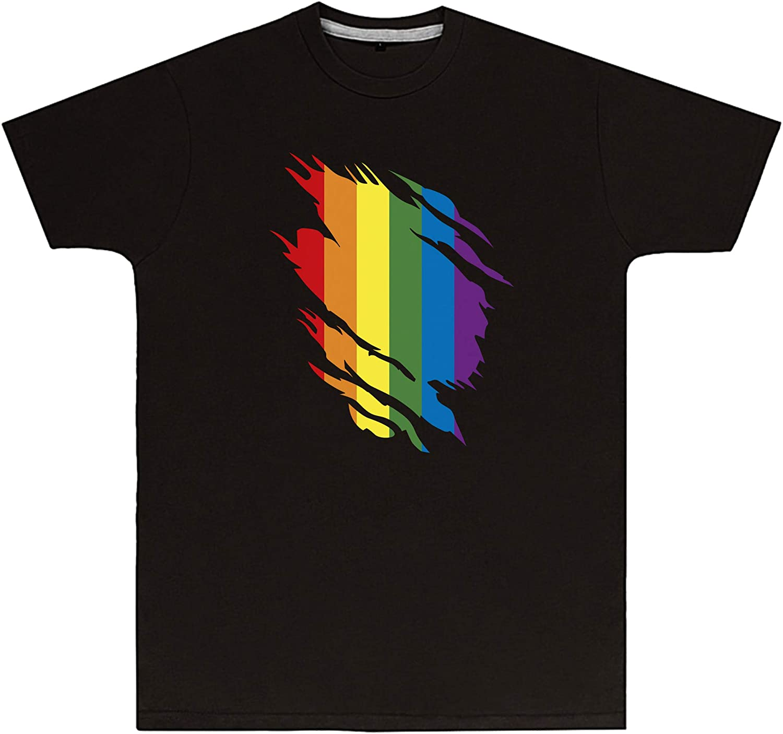 Purple Print House Unisex Rainbow Torn T Shirt - LGBTQIAPK