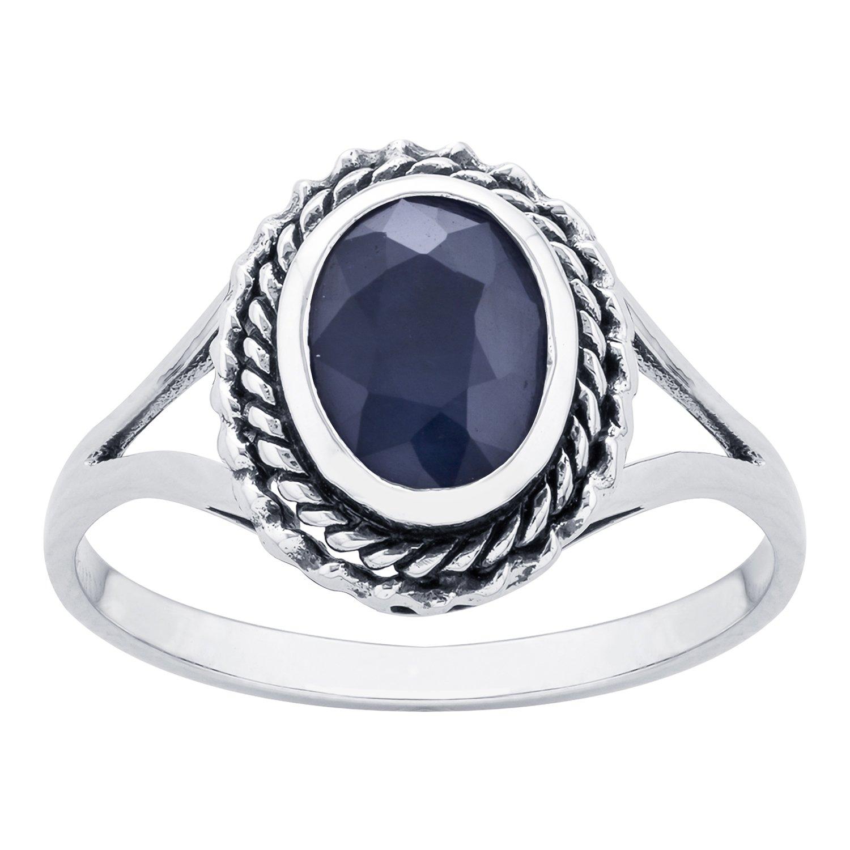 10k White Gold Genuine Oval Sapphire Split Shank Ring by Instagems