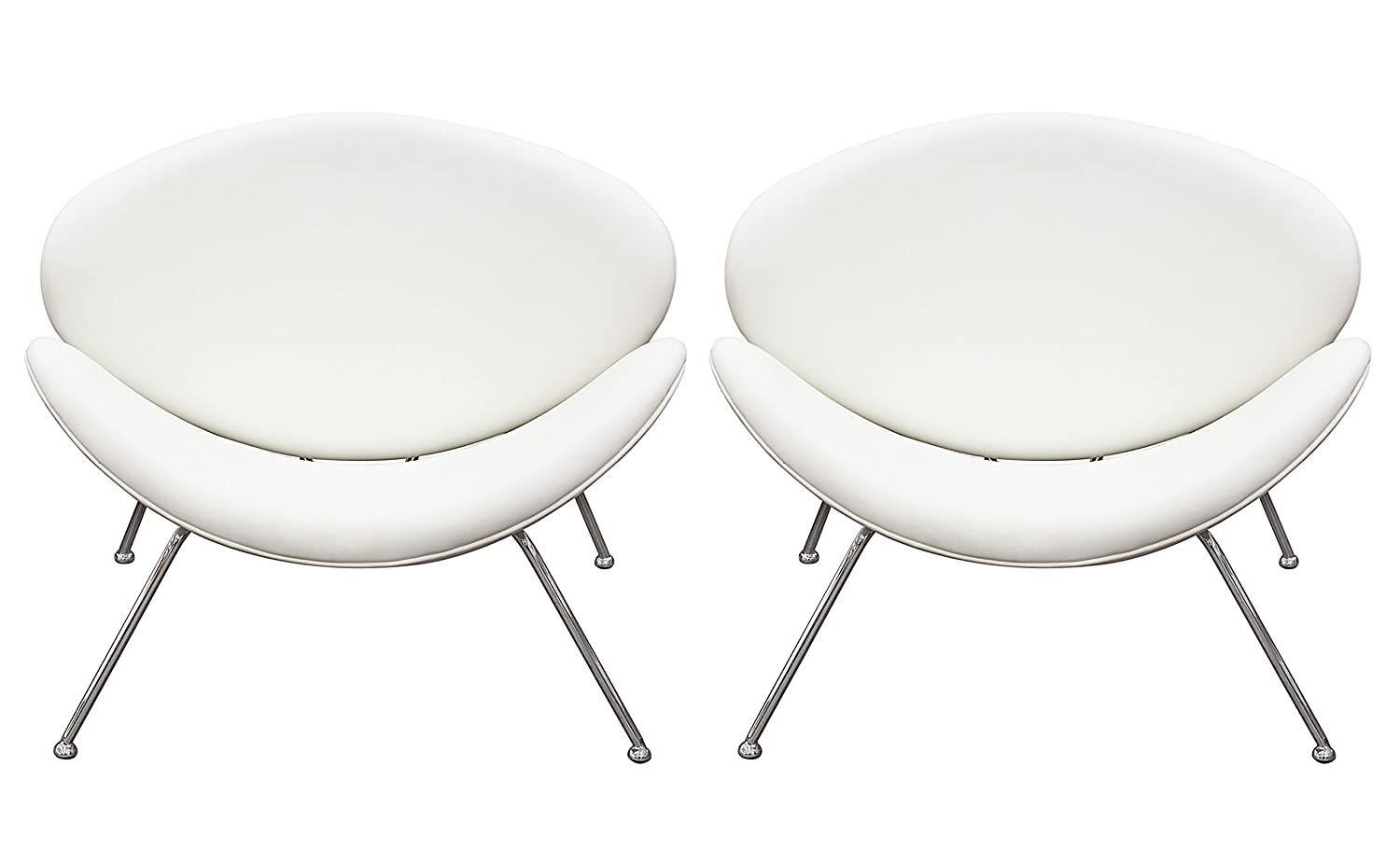 Superb Amazon Com Set Of 2 Roxy White Accent Chair With Chrome Ibusinesslaw Wood Chair Design Ideas Ibusinesslaworg