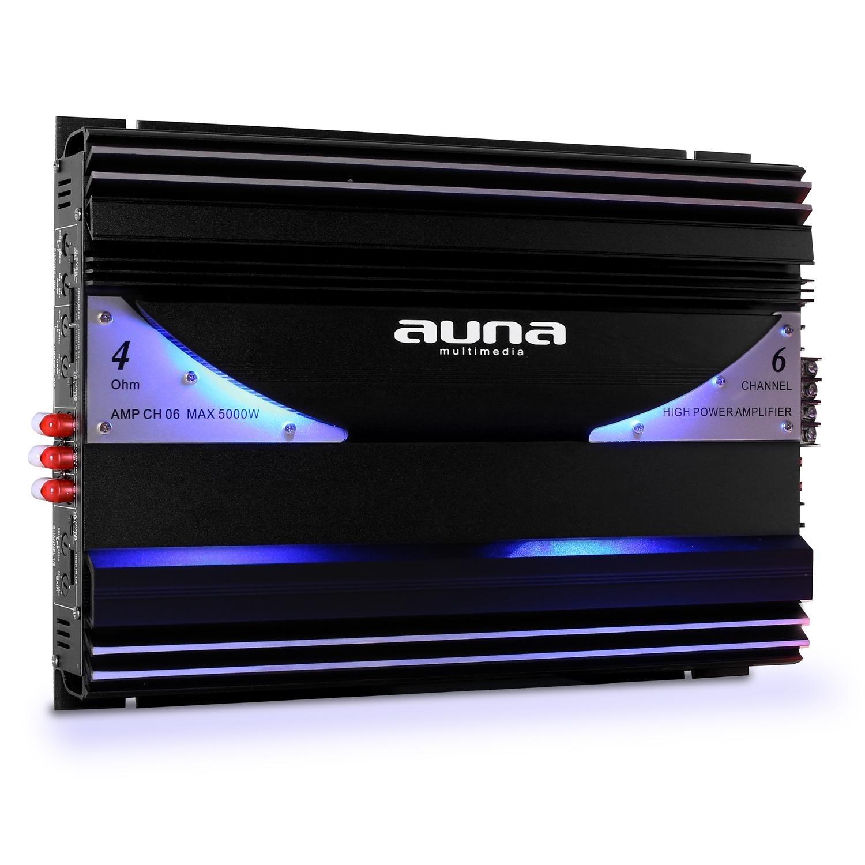 4.1 Auto Lautsprecherset Set Black Line 520 5000W Endstufe Verst/ärker 16cm Boxen Subwoofer