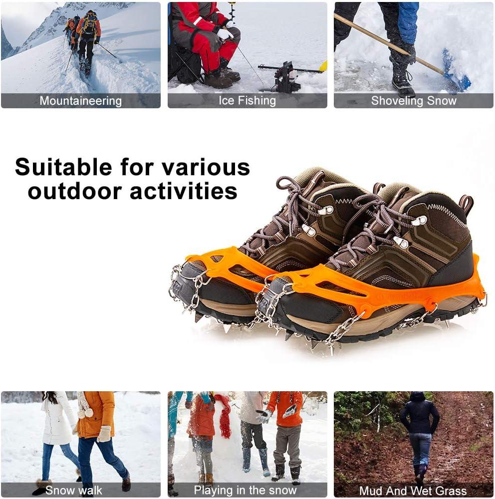 Usato per Trekking Escursioni in Inverno Outdoor Sci Ghiaccio Neve Escursioni Arrampicata Ice Tacchetti,Ramponi da Ghiaccio Antiscivolo 19 Dente Antiscivolo Neve Ghiaccio Traction per Scarpe Stivali