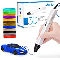 Merlion 3D Pen for Kids, 3D Pen with 1.75mm PLA Filament Pack of 12, Each Color 10 Feet, 3D Printing Pen with OLED Screen is for Kids,Artist, Adults Upgraded