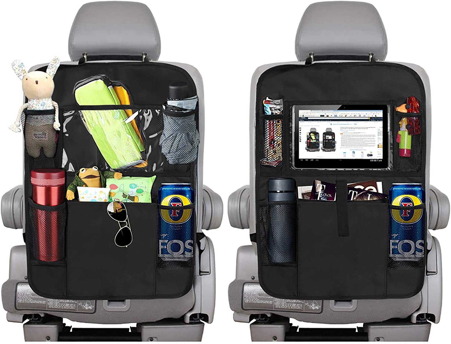 Back Seat Protector Kick Mats for Kids GREATEE Car Backseat Organizer and Storage Road Trip Essentials 6 Storage Pockets with Tissue Box 2PCS - Black