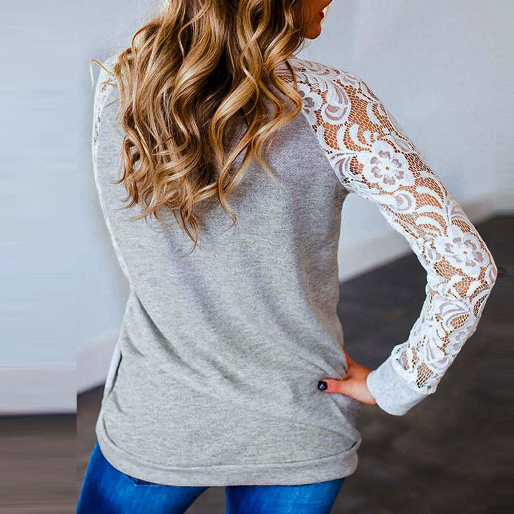 F/_Gotal Women Lace Patchwork Shirt Round Neck Colorblock Tunic Blouse Loose T-Shirt Blouse Tops Pullover Sweatshirts