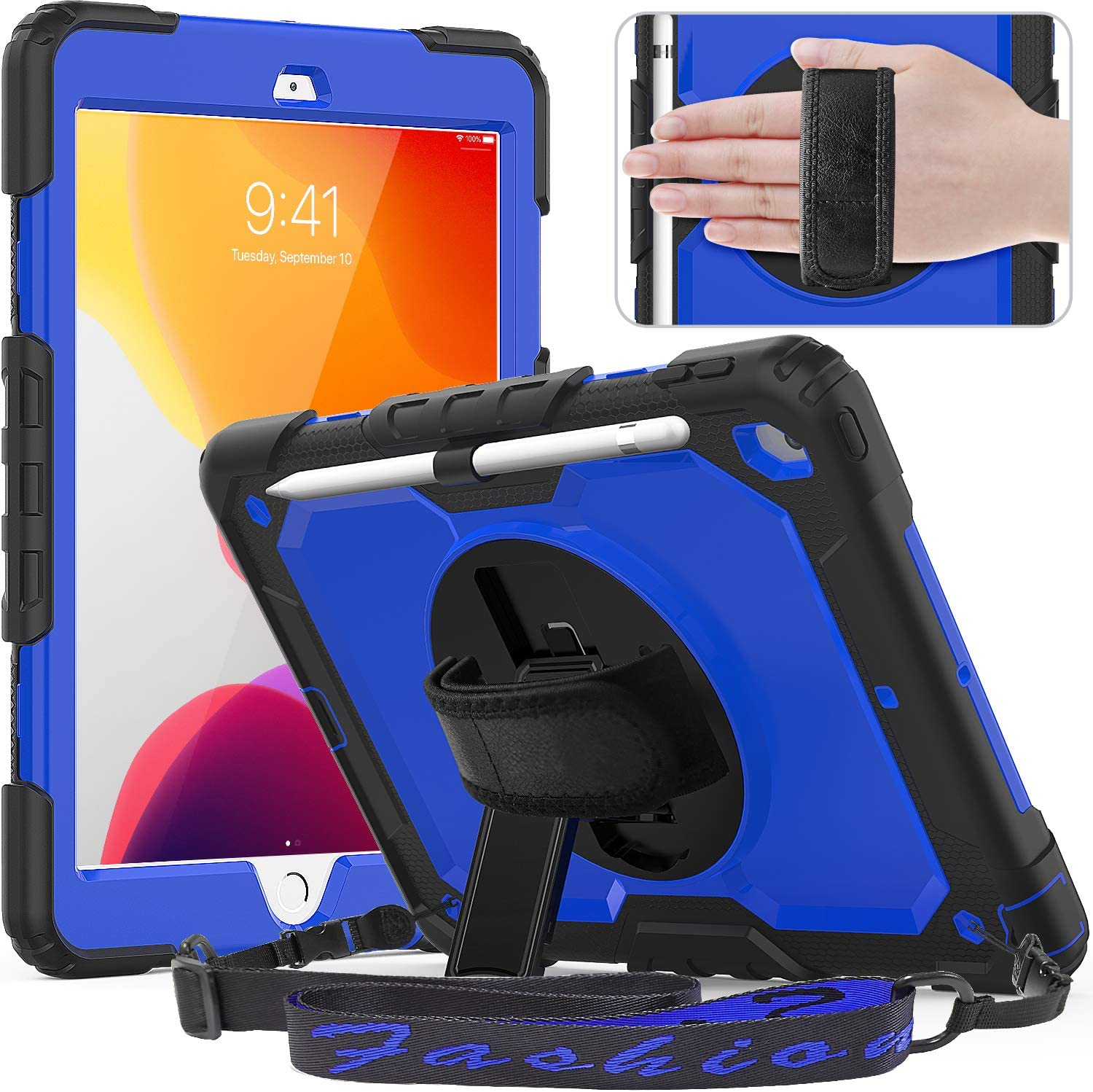 Timecity iPad 10.2 Case 2020/ 2019, iPad 8th/ 7th Generation Case with Pencil Holder, 360° Rotatable Stand with Hand Strap Shoulder Strap, Built-in Screen Protector iPad 8/7 Generation Case,Dark Blue