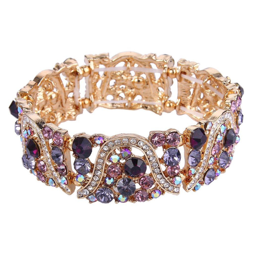 EVER FAITH Gold-Tone Austrian Crystal Art Deco Wave Bridal Elastic Stretch Bracelet Purple
