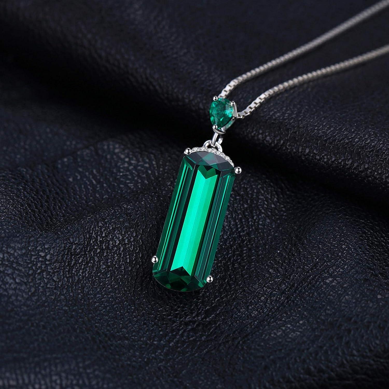 MMC Womens Fancy Cut Trendy 4.4ct Emerald Silver Pendants Necklaces