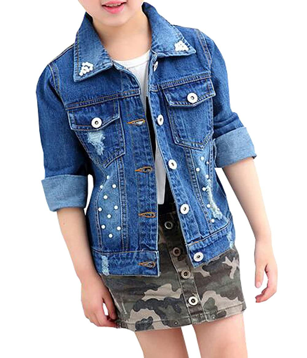 HomeToy Girls Denim Pearl Coat Children Casual Jeans Jacket Top