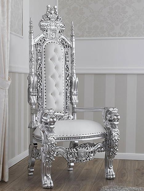Modernes Barock Thron Sessel Echte Leaf Silber Steine Und Knöpfen Swarovski