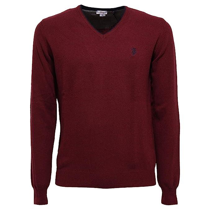 6810K Maglione uomo U.S. POLO ASSN. Bordeaux Wool/Cashmere Sweater ...