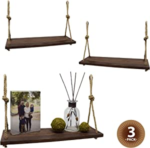 Happy Magnolia Rustic Rope Wooden Wall Hanging Shelves, Wood Plant Shelf Indoor, Ideal for Hanging Decor, Window Shelf, Triangle Shelf (3 Pack)