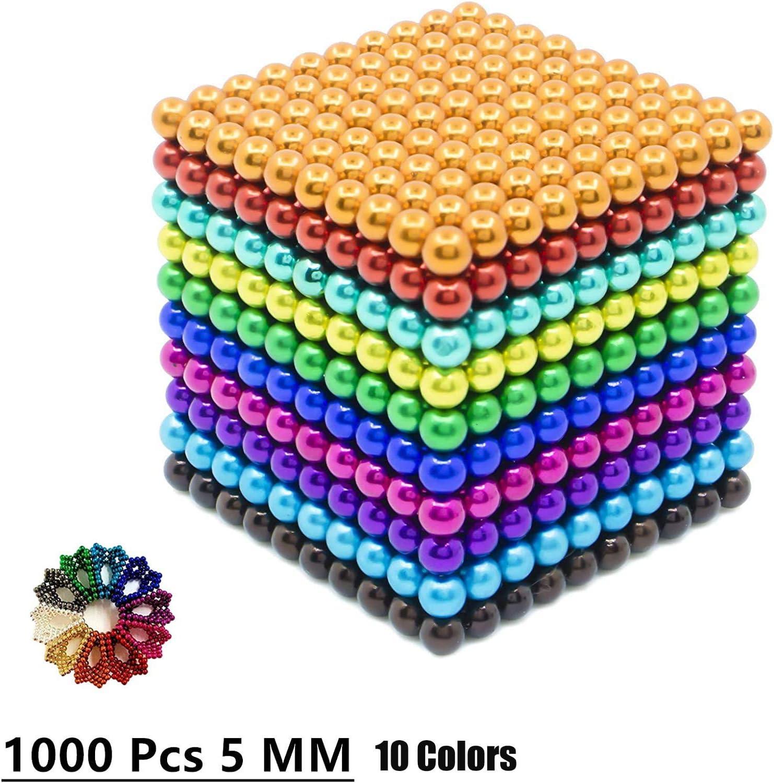 GONGYBZ Mạ-Ġ-nē-ț-i/ç Balls 1000 pcs 5mm 10 Colors Multicolored Large Cube Building Blocks Sculpture Educational Game Fun Office Toy Intelligence Development Stress Relief