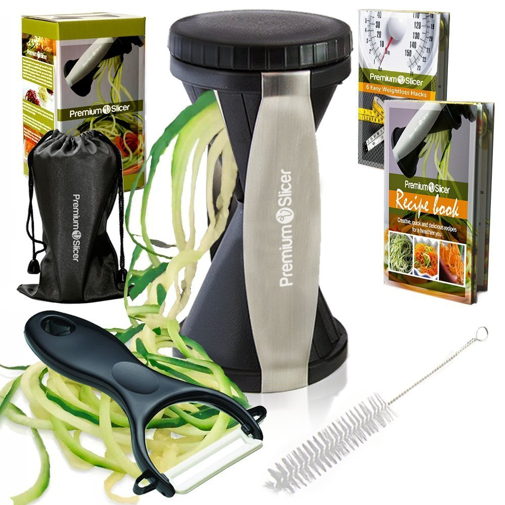 Premium Vegetable Spiralizer Bundle - Spiral Slicer - Best Veggie, Zucchini Spaghetti Pasta Noodle Maker - Black Premium V Slicer PV17