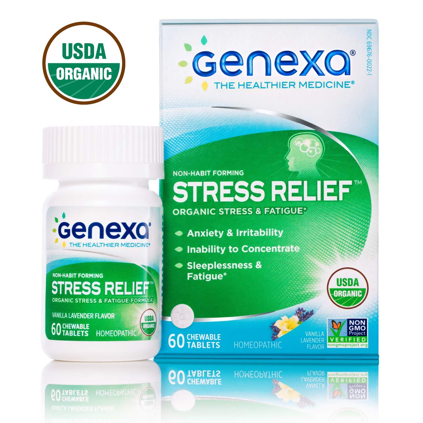 Genexa Stress Relief - 60 Tablets | Certified Organic & Non-GMO, Physician Formulated, Homeopathic | Stress & Fatigue Remedy by Genexa