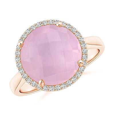 Angara Round Rose Quartz Cocktail Ring with Diamond Halo LP69b