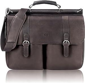 Solo Warren 16 Inch Leather Laptop Briefcase, Espresso