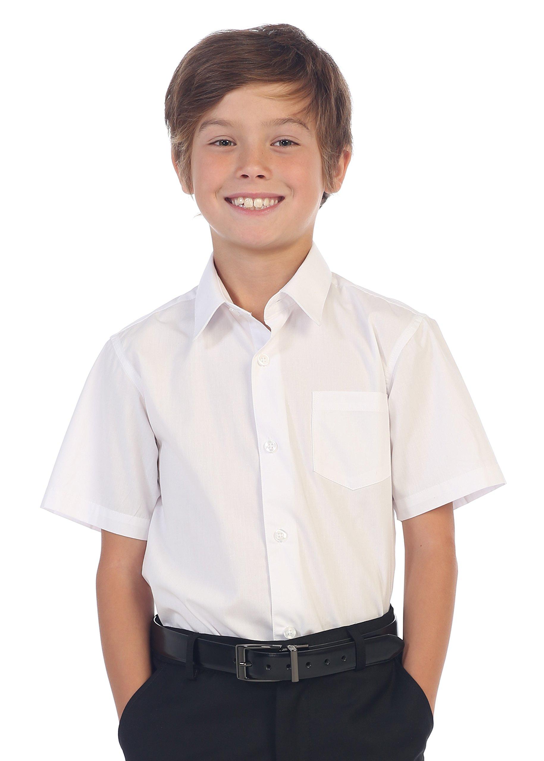 Gioberti Boy's Short Sleeve Solid Dress Shirt, White, Size 12