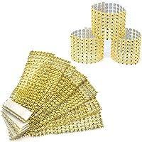 Nsiwem 50 Piezas Servilleteros Anillos de servilletas aro de servilleta Cinta de Diamantes Servilleteros de Mesa para…