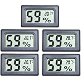 EEEKit 5-Pack Mini LCD Digital Electronic Temperature Humidity Meter Indoor Thermometer Hygrometer (Black