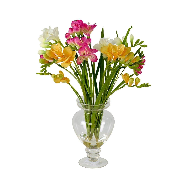 Artificial Pink Yellow White Freesia Flower Arrangement Vase
