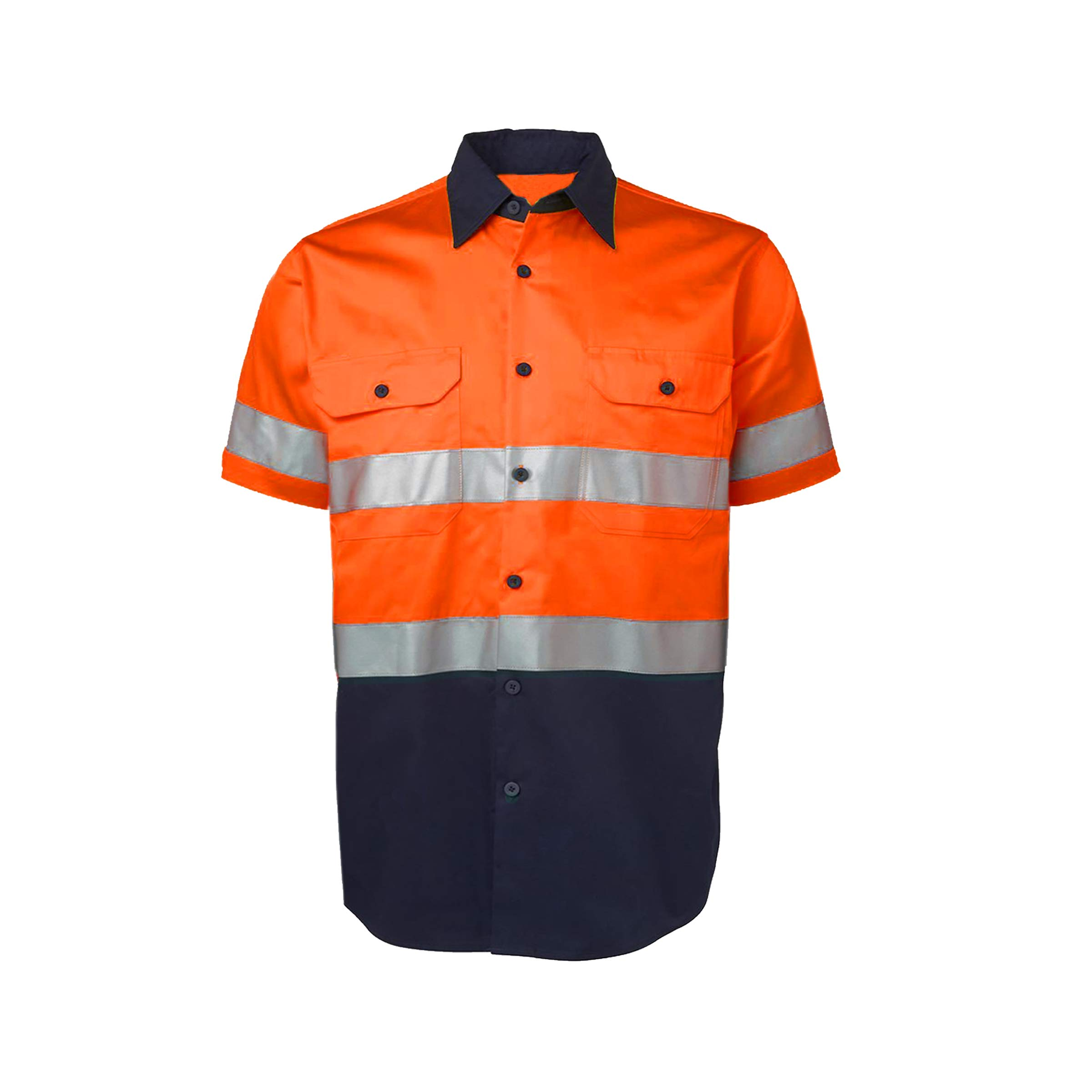 LANTERN FISH Hi Viz Security Guard Work Wear for Men Short Sleeve 155gsm pre-Shrunk Cotton Drill Bright Orange/Navy Large Size