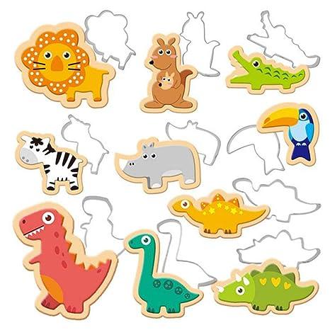 Dolland Mini dinosaurio Cortador de galletas Set Acero Inoxidable Elefante León Jirafa Kangaroo Dino Moldes de
