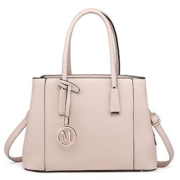 7eddc074083c8 Miss Lulu Handtasche Schultertasche Tote Bag Umhängetasche Shopper Taschen  Henkeltasche (Beige)
