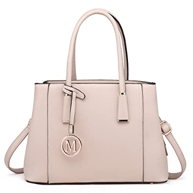 de7296aa6e Miss Lulu Leather Look V-Shape Shoulder Handbag Elegant Design Top Handle  Fashion Handbags for Women (Beige): Amazon.co.uk: Luggage